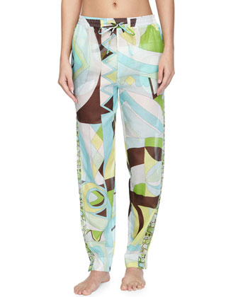 Printed Voile Tapered Coverup Pants