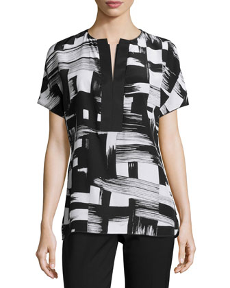 Lula Graphic-Print Short-Sleeve Blouse & Bleecker Slim Cropped Pants