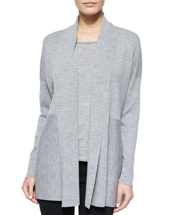 Shawl-Collar Wool Cardigan, Light Nickel