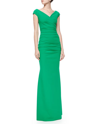 Myra Cap-Sleeve Ruched Gown