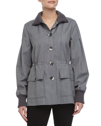 Cinched-Waist Coat, Navy