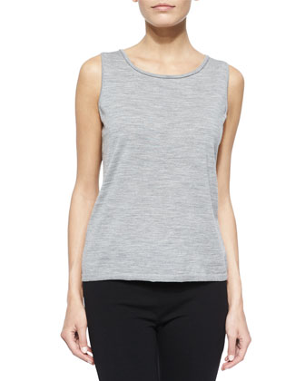 Fine-Gauge Merino Tank Top, Light Nickel