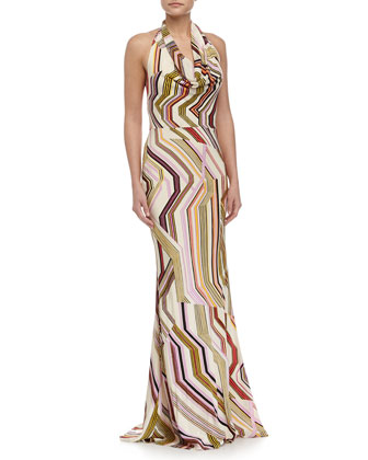 Geometric-Print Mermaid Gown, Multi Colors