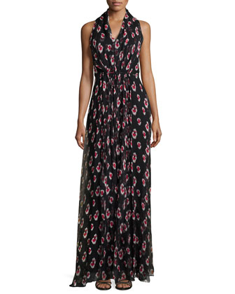 Sleeveless Halter-Neck Printed Gown, Black/White/Pink