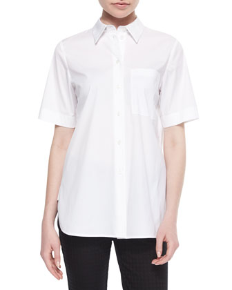 Rikki Short-Sleeve Blouse W/ Chain Detail