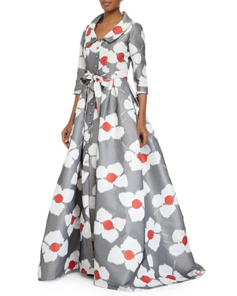 3/4-Sleeve Floral-Print Ball Gown, Poppy Red/Gray