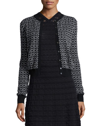 Windowpane Cropped Cardigan & Sleeveless Fit-and-Flare Dress