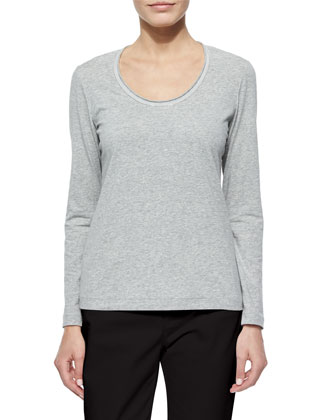 Long-Sleeve Jersey Tee W/ Grosgrain Trim