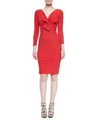 Ilenia Twist-Front Sheath Dress, Passion
