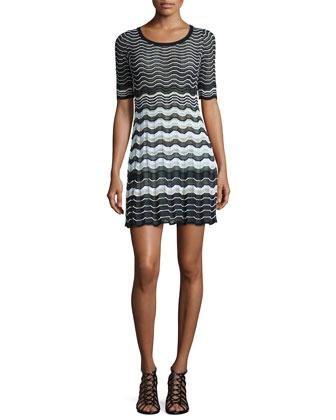 Half-Sleeve Greek Key Dress
