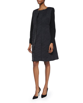 Long Frances Jacket & Joss Cap-Sleeve Jacquard Sheath Dress