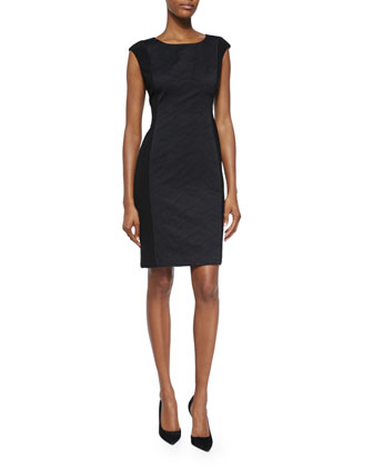 Joss Cap-Sleeve Jacquard Sheath Dress