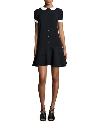 Short-Sleeve Flounce Dress