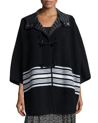 Wool-Blend Blanket Striped Cape