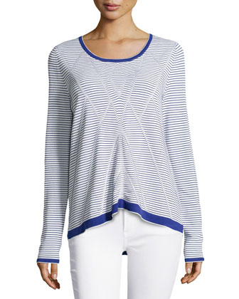 Ottoman Tuck Striped Top, Navy/White