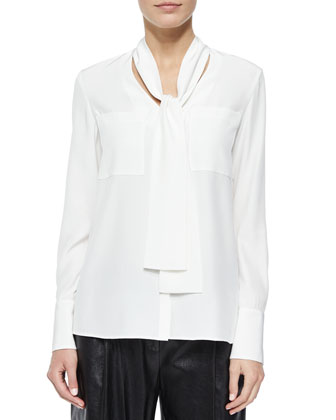 Ardelle Scarf-Neck Blouse & Leather Cropped Pants