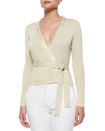 Shimmer-Knit Ballerina Wrap Top, Gold/Ivory