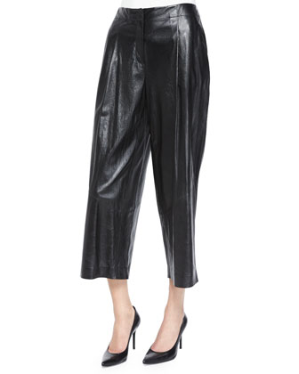 Leather Cropped Pants, Black