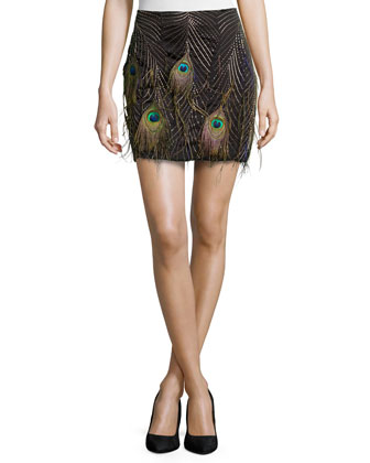 Beaded Mini Skirt with Peacock Feathers, Multi Colors