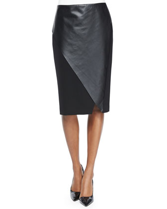 Lulu Short-Sleeve Silk Tunic & Nori Faux-Wrap Faux-Leather Pencil Skirt