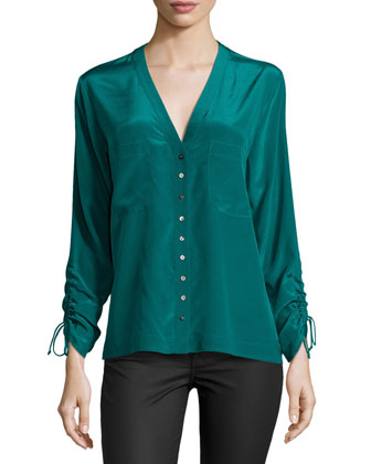 Sandwash Button-Front Blouse, Pine
