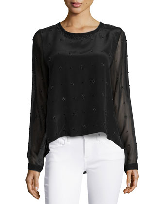 Walter Allover Beaded Top, Black