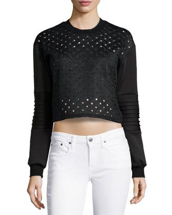 Open Tech-Weave Top, Black