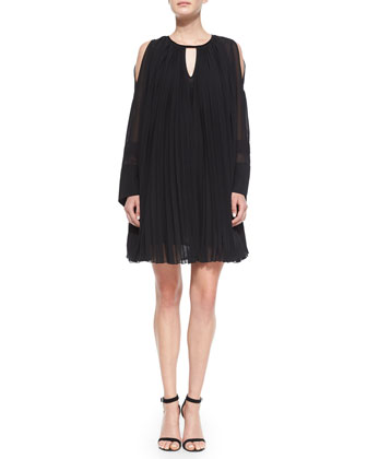 Long-Sleeve Pleated Oversized Shift Dress, Black