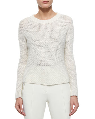 Cream Cable Knit Sweater, Fenelon Two Piece Coat & White Stretch Pants ...