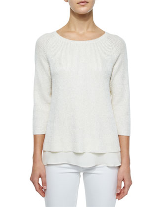 Silk-Cashmere Blend with Sequins Top W/ Chiffon