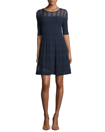 Half-Sleeve Rib-Stitch Fit & Flare Dress