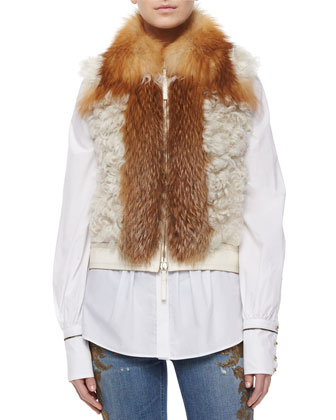 Fox Fur-Trimmed Shearling Vest