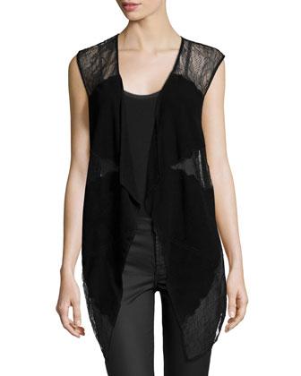 Drape-Front Suede Vest W/Lace Insets, Black