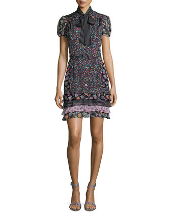 Short-Sleeve Multipattern Silk-Blend Dress, Black/Multicolor