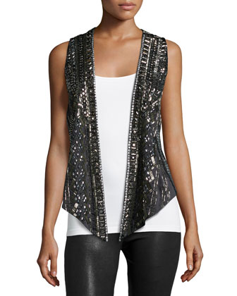Embellished Open-Front Vest, Black