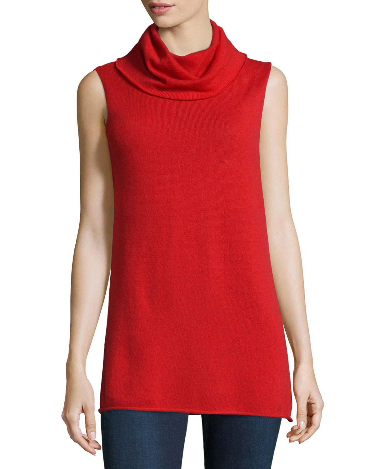 Cashmere Sleeveless Cowl Sweater, Size: SMALL, Red - Neiman Marcus Cashmere Collection