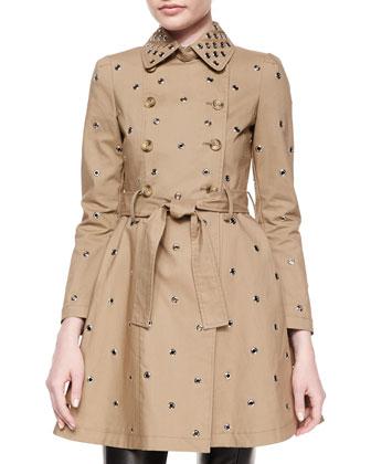 Grommet Full Skirt Trench Coat & Leather-Front Woven-Back Skinny Pants