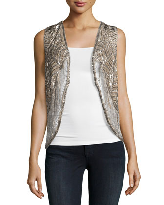 Embellished Drapey Vest, Buff/Antique Silver