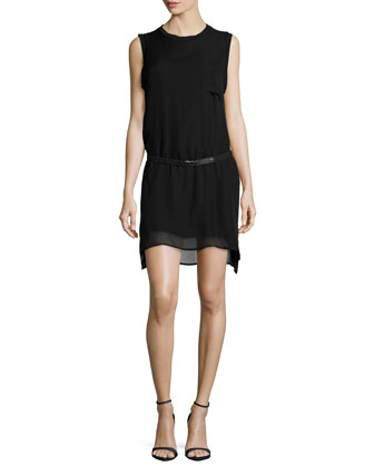 Sleeveless Belted Muscle Dress, Black
