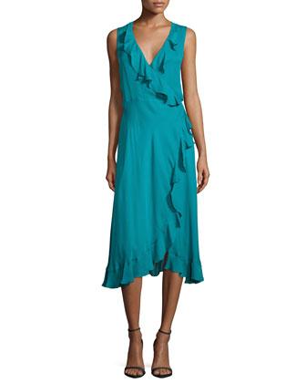 Sleeveless Lay Me Down Ruffle Dress, Turquoise