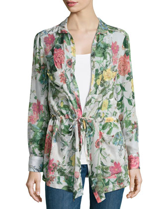 His Girl Friday Floral-Print Jacket, Swan Multi