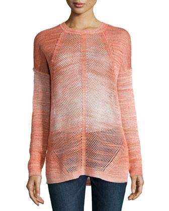 Dyed-Mesh Long-Sleeve Sweater, Tie Dye