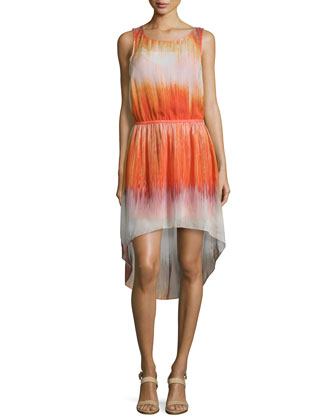 Sleeveless Round-Neck Ombre Dress, Orange Multi
