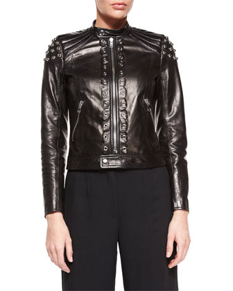 Grommet Pieced Leather Jacket