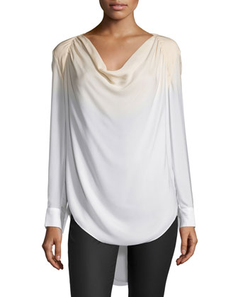 Long-Sleeve Cowl-Neck Blouse, Buff/Swan