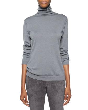 Valina Coat W/ Calf Hair, Fine-Gauge Merino Turtleneck & Suede Slim Pants ...
