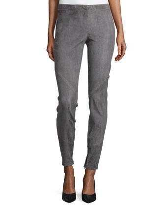 Slim Suede Ankle-Zip Pants