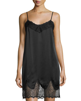 Lace & Charm Slip Night Dress, Black
