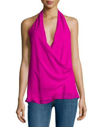 Two-Ply Silk Halter Top, Fuchsia