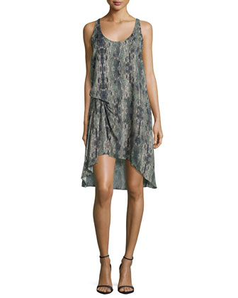 Sleeveless Printed Racerback Dress W/Side-Tuck Detail, Military Multi